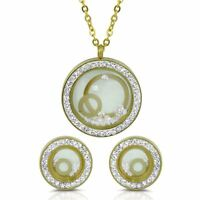 Gold Plated Pendant Earring Stainless Steel Jewelry Set Floating Cubic Zirconia