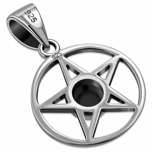 Sterling Silver 925 Pendentif Pentagramme 14 mm-Black Onyx