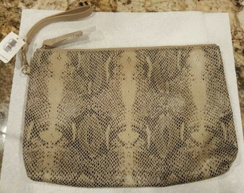 Clutch Brown New Old One Large Zip Nwt Wristlet Navy leather Faux Soft Snakeskin m8nOwvN0