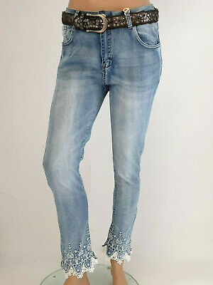 MOZZAAR Jeans Destroyed Glitzer Herbst Winter verschiedene Größen 38-48