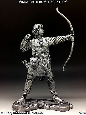Viking with bow 10 century, Tin toy soldier 54 mm, figurine, metal sculpture