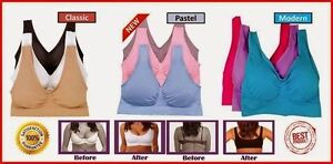 e18f1760db Genie Bra With Removable Pads COMFY MANY COLORS ALL SIZE SET OF 3 ...