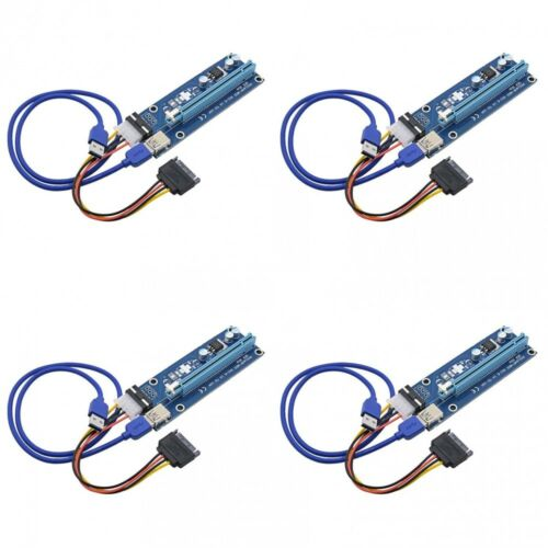 4 USB 3.0 PCI PCI-E Express 1x To 16x Extender Riser Card Adapter Power Cable