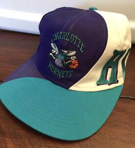 fae66495ebe Vintage 90 s Charlotte HORNETS Snapback Hat Tri Color NBA Cap RARE ...
