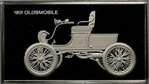 1901-OLDSMOBILE-CAR-STERLING-SILVER-BAR-INGOT-DEEP-CAMEO-FRANKLIN-MINT-DR