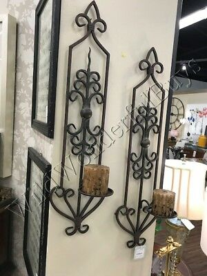 Set 2 Scroll Candle Holder Sconce Bronze 30H Wrought Iron Wall Mount Tuscan Pair