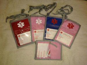 Open-Top-Nylon-Medical-Neck-Wallet-zippered-pocket-photo-holder-amp-med-symbol