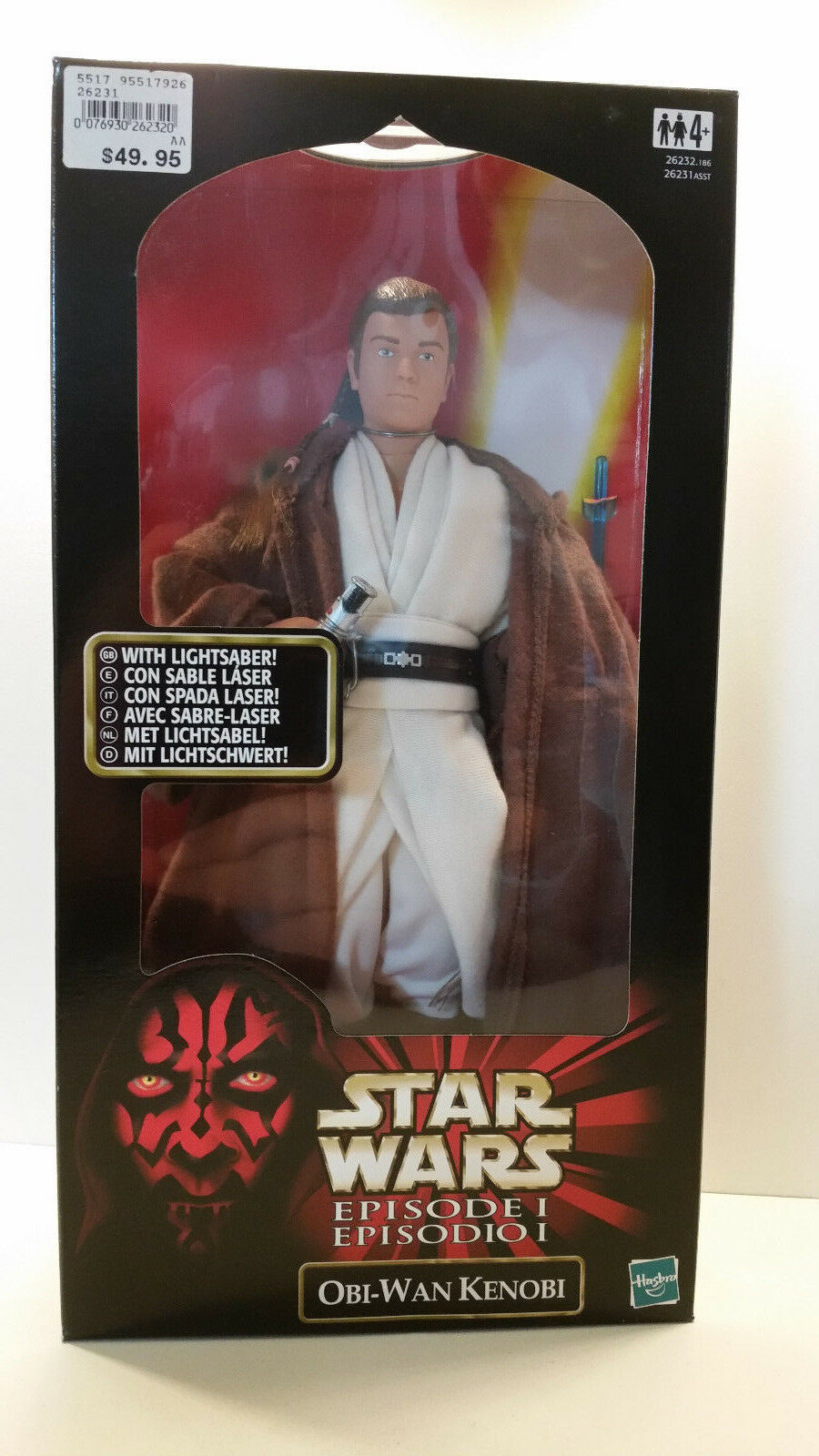 Star Wars Episode 1 TPM Obi-Wan Kenobi with lightsaber 1 6 figure MIB 1999