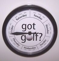 Day Of The Week Clock Got Golf Dial Black Frame Retirement Memory Golfer Gift