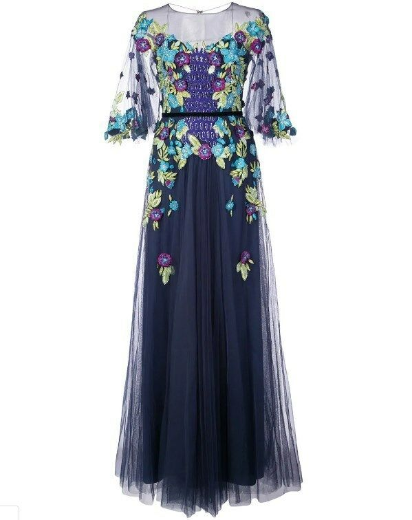 New Marchesa Notte Off Shoulder Illusion Floral Gown Navy 2 8 10 12 14 16