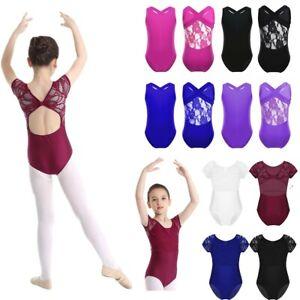 Kids Girls Lace Ballet Dance Leotards Bodysuit Gymnastics Workout Sport Costumes