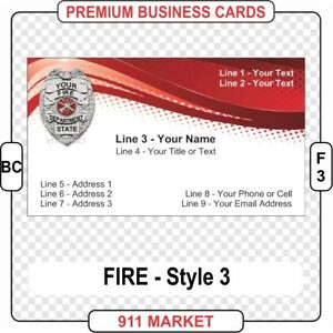 Firefighter Business Cards Full Color Fire Department Chief Badge
