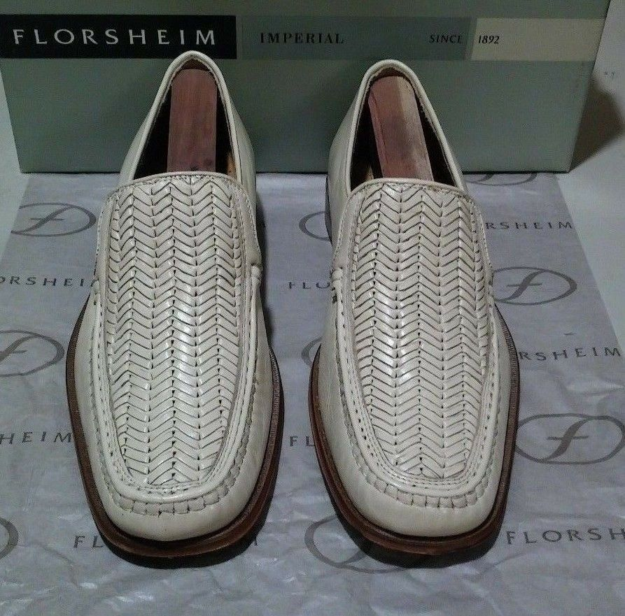 New Florsheim Imperial Henry 8.5 D beige wicker calf leather (649)