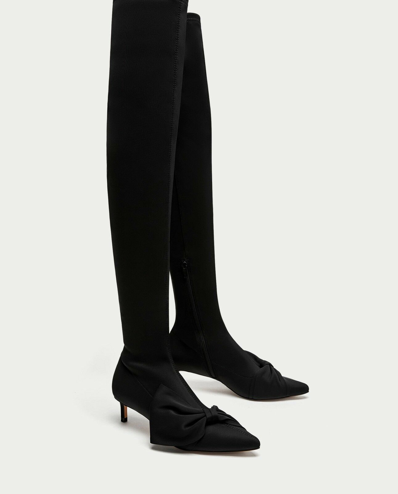 Zara AW17 Over The Knee High Heel Boots With Bows Size 8 EUR 39 NWT