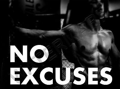 gym motivational quote no excuses large wall art poster