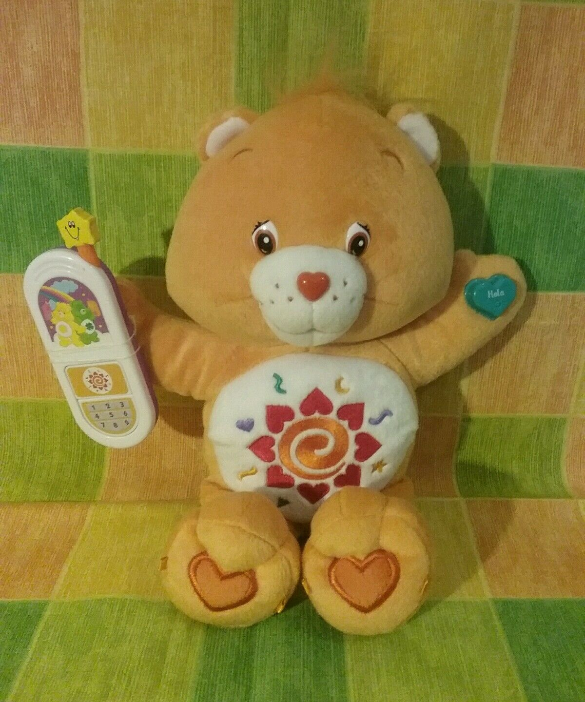 Talk n Learn 2005 Bilingual Care bear Amigo Bear with phone