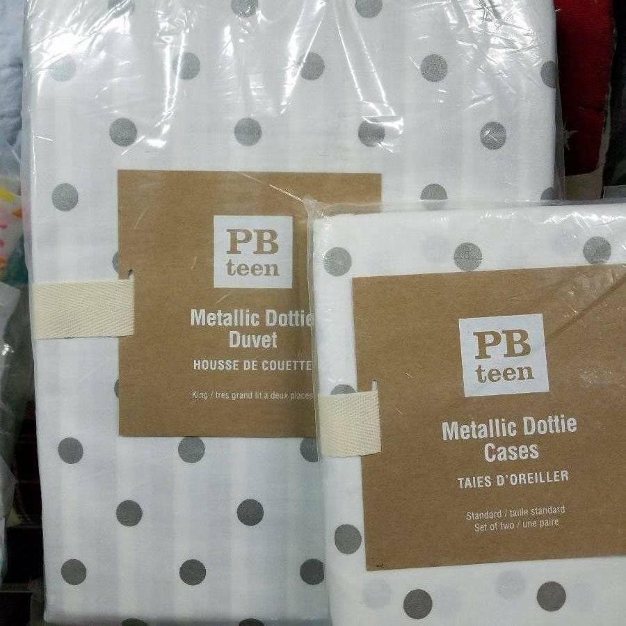 Pottery Barn Metallic Siver Dot KING duvet and 2 Pillowcases Holiday Christmas