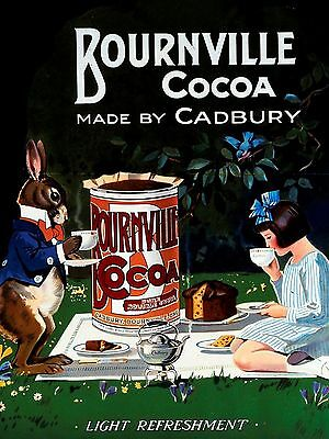 METAL VINTAGE  SHABBY-CHIC BOURNVILLE COCOA TIN SIGN WALL PLAQUE / FRIDGE MAGNET