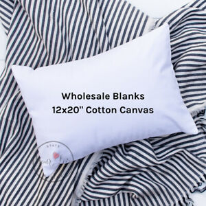 Wholesale Blank Pillow Cover12x20 10 oz Soft Cotton CanvasWHITE or NATURAL