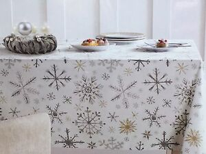 Delicieux Image Is Loading Snowflake Tablecloth Shimmer Christmas Silver Gold  Napkin 60x84