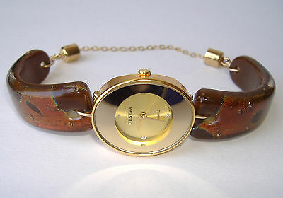 Mocha Brown Watch Fused Dichroic Glass Band Women's Handmade Wristwatch New Gift