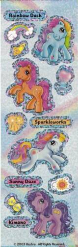 Sandylion Glittery Retired My Little Pony Rainbow Dash Stickers 6 Strips
