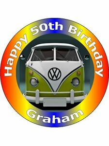 7.5 VW CAMPER VAN CAKE TOPPERS PERSONALISED AND DECORATED ON EDIBLE ...