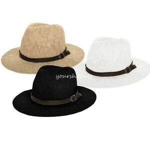 96412a9c6f4 Fashion Women s Belt Band Wide Brim Floppy Hat Summer Straw Beach ...