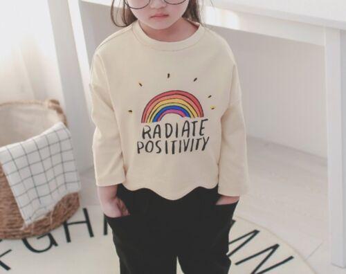 Pant Set New Toddler Kids Baby Girls Fashion Korean Spring Casual Rainbow Top