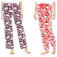 Girl's Hello Kitty Plush Sleep Pajama Pants M Hot Pink Or Coral,