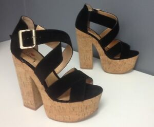 6cada76f4c8b Image is loading LUICHINY-Black-Criss-Cross-Ankle-Buckle-Cork-Platform-