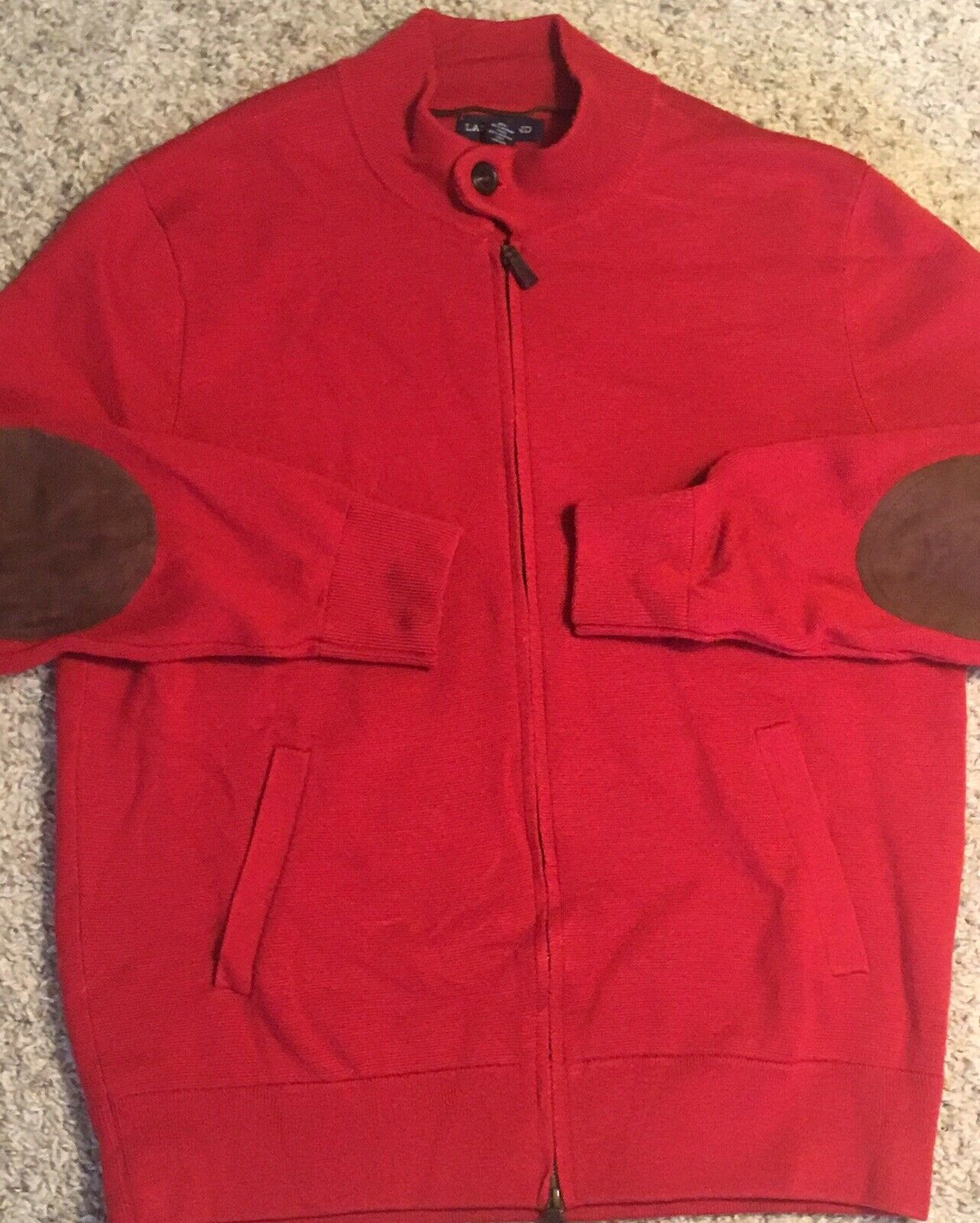 Lands End Mens Sz L (42-44) Red Knit Full Zip Suede Elbow Patched Sweater EUC