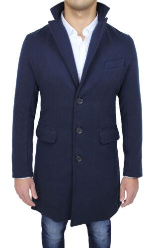 Elegante Baronetto Uomo Blu Giaccone Fit Slim Casual Invernale Nuovo Cappotto qw85dAq