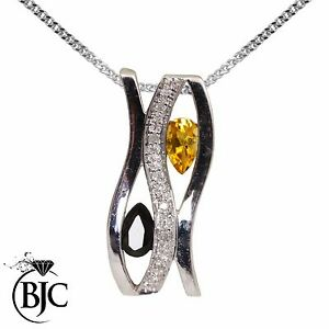 BJC-9kt-Oro-Bianco-Giallo-Zaffiro-Quarzo-amp-Diamante-Pendente-E-Collana-P39