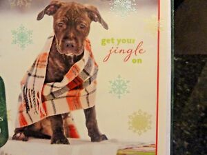 New-set-16-Holiday-Cards-Chocolate-BOXER-puppy-Plaid-scarf-Christmas-Cheer-DOG
