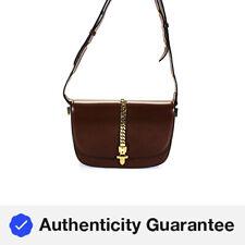 Gucci Chain Detail Leather Sylive 1969 Shoulder Handbag Brown