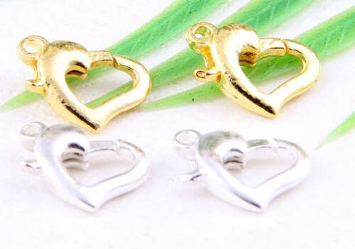 Wholesale 100pcs Tibetan Silver//Gold heart-shaped lobster clasp 12x8mm