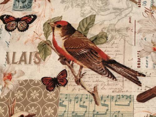Fabric Wiild Birds & Butterflies Lillies Oak Ave on Cream Cotton by the 1/4 yard