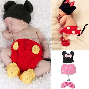 f5e014641580 Girl Boy Baby Infant Minnie Mickey Mouse Crochet Knit Costume Photo ...