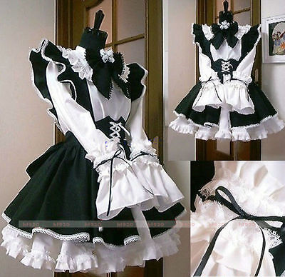 Halloween Gothic Lolita Cosplay Costume Sissy Maid Dress Custom Made Any Size