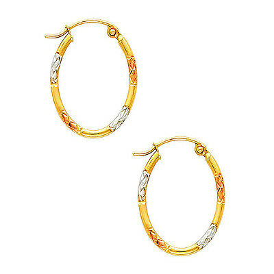 10K Tri-Color Gold Fancy Satin Finished Light Hoop Earrings
