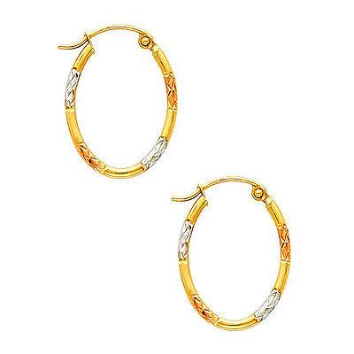 10K Tri-Color Gold Fancy Satin Finished Light Hoop Earrings