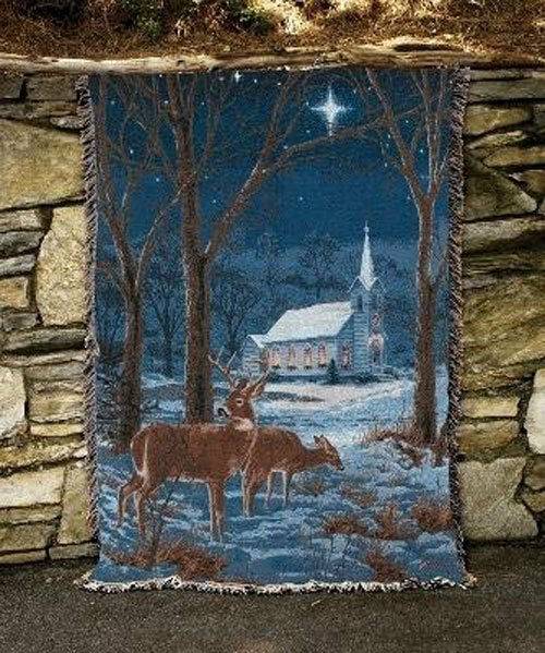 A Midnight Clear Christmas Chapel & Deer Scene Tapestry Afghan Throw