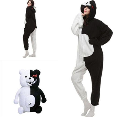 Adult  Danganronpa Monokuma Cosplay Unisex Kigurumi Jumpsuit Pajamas UK FAST