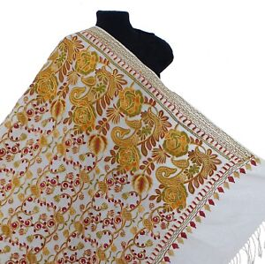 Crewel-Embroidered-Cream-Floral-Wool-Shawl-Multicolored-Kashmir-Art-80-034-40-034-Wrap