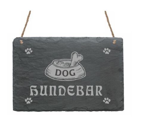 Schiefertafel « HUNDEBAR » Schild Hunde Bistro Hundenapf Napf Imbiss Restaurant