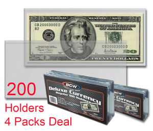 150 REGULAR  BCW DELUXE CURRENCY SLEEVE BILL  HOLDERS PAPER MONEY SEMI RIGID