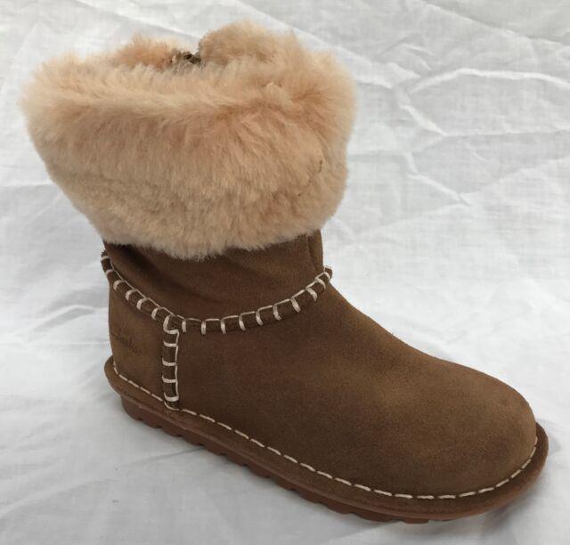 F Clarks Greeta Ace Walnut Suede Warm Girls Winter Boots Size UK 10-12 1//2G