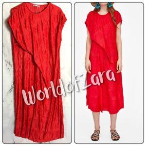 San Francisco 100% de alta calidad en pies tiros de Detalles de Zara Woman Rojo Plisado De Cuello redondo y arrugado Drapeado  Vestido Midi Lateral 5039/010- ver título original