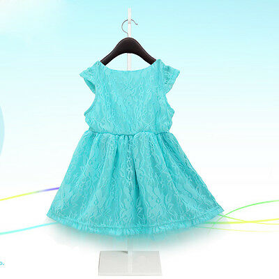 2015 Blue Kids Baby Girls Dress Princess Party Lace Gown Fancy Dresses 2~7Y UK